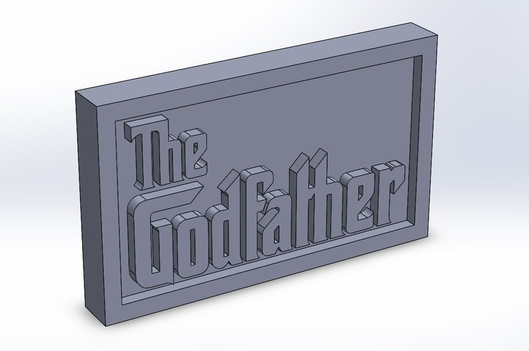 The Godfather Logo Plaque Rectangle 3D Print 171360