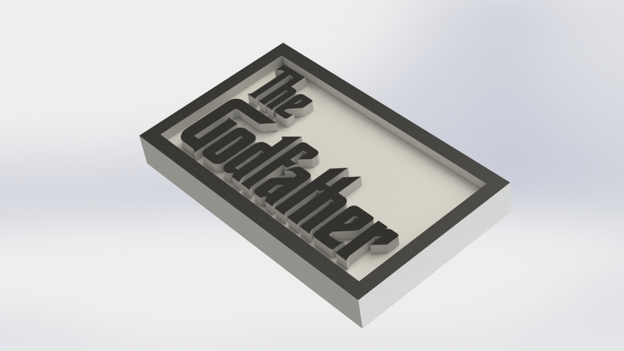 The Godfather Logo Plaque Rectangle 3D Print 171361