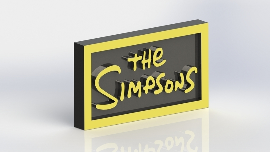 3d Printed The Simpsons Logo Plaque Rectangle By Taiced3d Pinshape