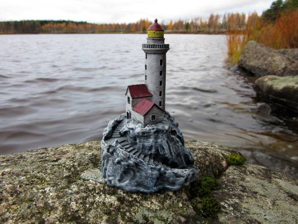 Medium Lighthouse on a rock. 3D Printing 171593
