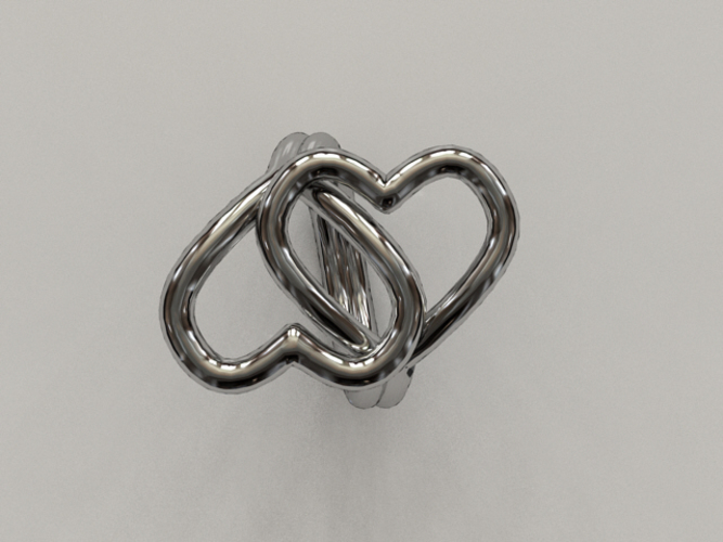 Knotted Hearts Ring 3D Print 17223