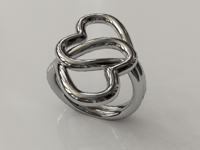 Knotted Hearts Ring 3D Print 17225