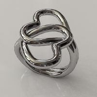 Small Knotted Hearts Ring 3D Printing 17225