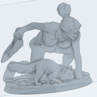 Small Lady Pussy action figures model woman cat warrior fight 3D Printing 172835