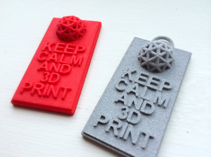 Keep Calm and 3D Print (Hypercube) Keychain 3D Print 17411