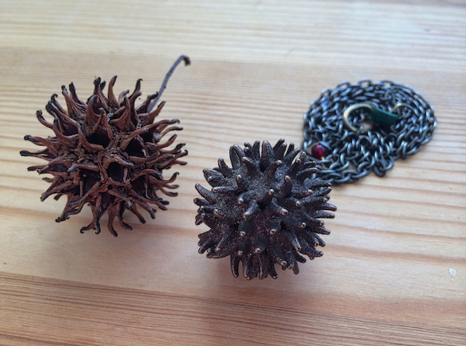 Sweetgum Tree Seed Pendant: Necklace/Earring 3D Print 17424