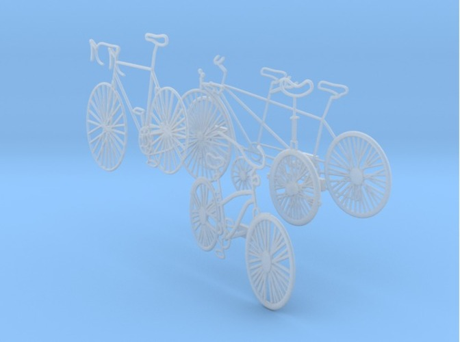 Five Bikes: Wire Wall Art 3D Print 17434