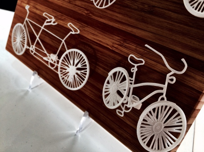 Five Bikes: Wire Wall Art 3D Print 17435