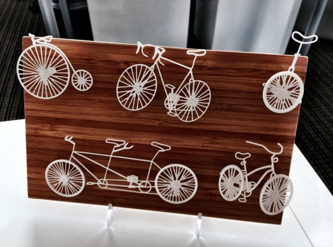 Five Bikes: Wire Wall Art 3D Print 17436