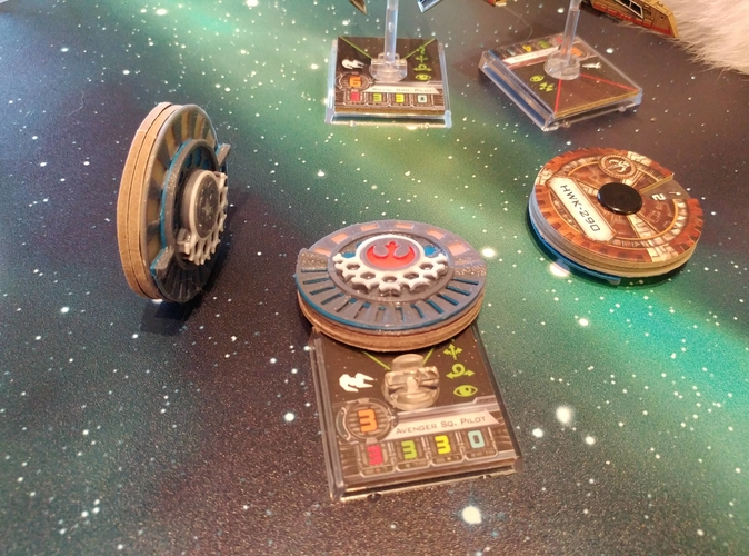 X Wing Miniature Game Damage Dials 3D Print 174953