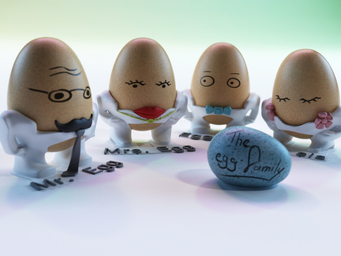 The Egg Family: all four 3D Print 17603