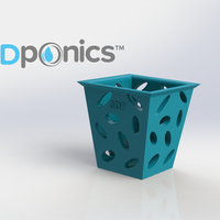 Small Planter (Square) - 3Dponics Non-Circulating Hydroponics 3D Printing 17616