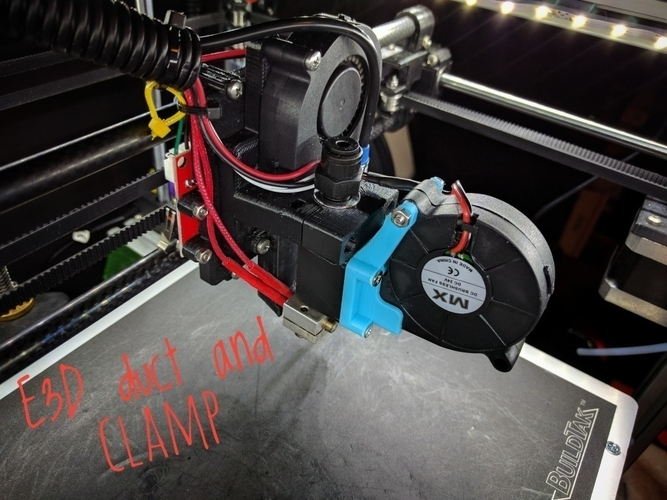 Hypercube E3Dv6 AIO Fan Duct & Clamp 3D Print 176386