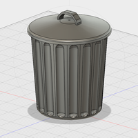 Small Free Desktop Trash Can with Lid 3D Printing 177069