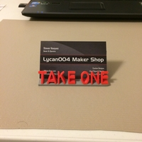 "Small ""Take One"" - Business Card Holder 3D Printing 178368"