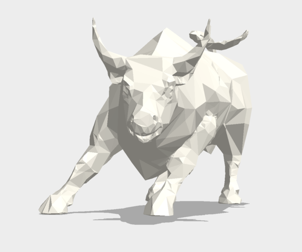 Low Poly: Wall Street Charging Bull 3D Print 178486