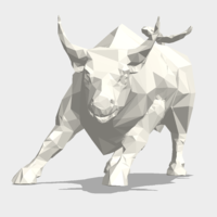 Small Low Poly: Wall Street Charging Bull 3D Printing 178486