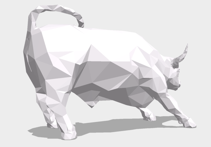 Low Poly: Wall Street Charging Bull 3D Print 178489
