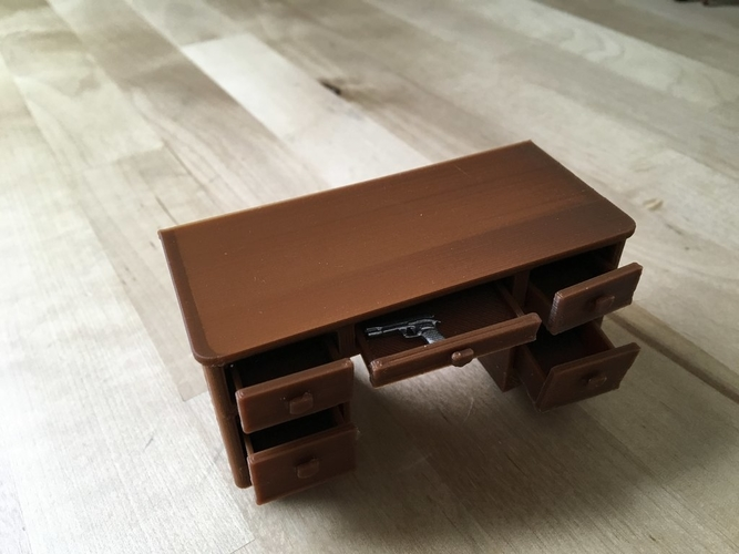 1940s Desk with working drawers and secret compartments (1/18 sc 3D Print 179091