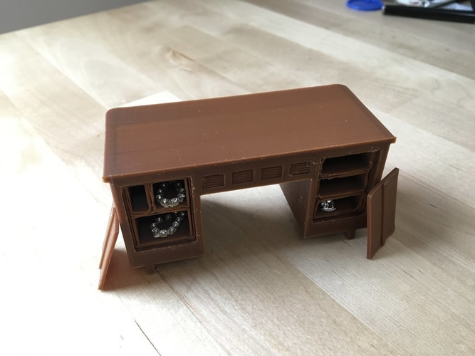 1940s Desk with working drawers and secret compartments (1/18 sc 3D Print 179093