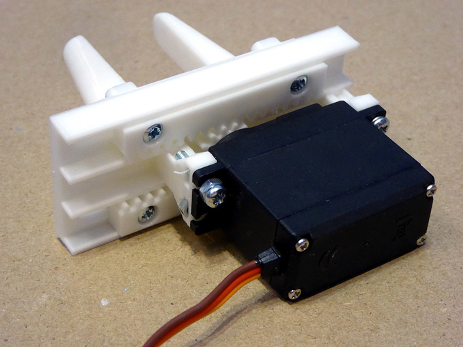 Servo Controlled Robotic Gripper using rack & pinion drive 3D Print 179316