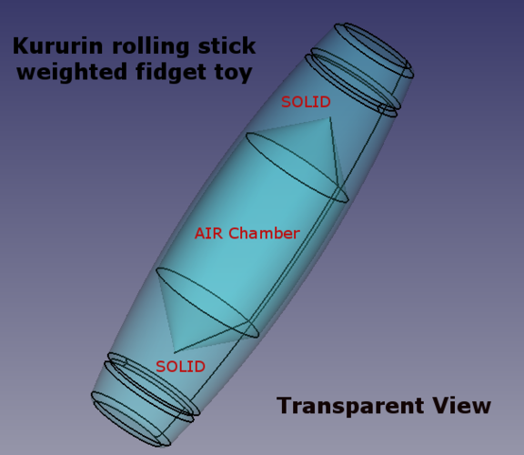 Kururin rolling stick weighted fidget toy tumbler 3D Print 179415