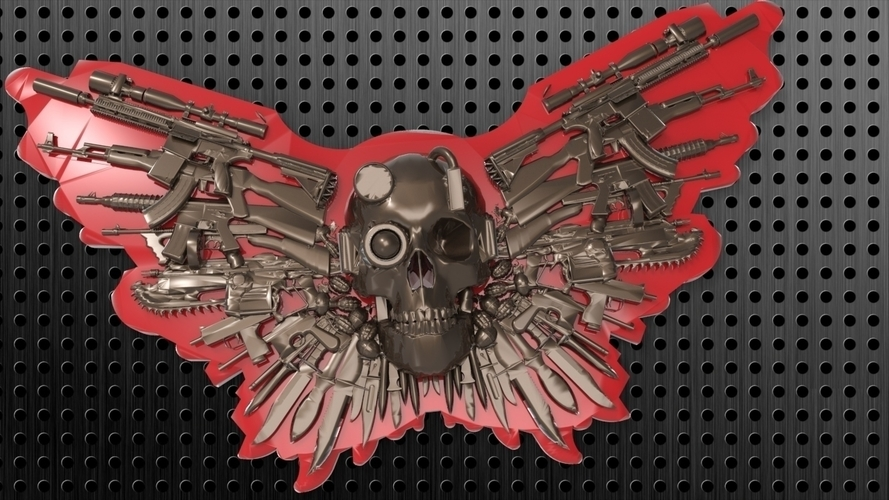 SKULL GUNS KNIVES BELT BUCKLE 3D Print 180450