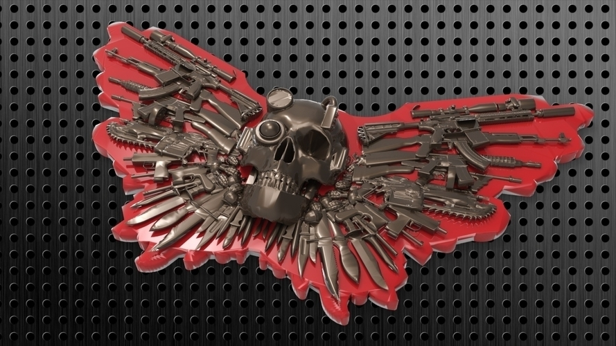SKULL GUNS KNIVES BELT BUCKLE 3D Print 180452