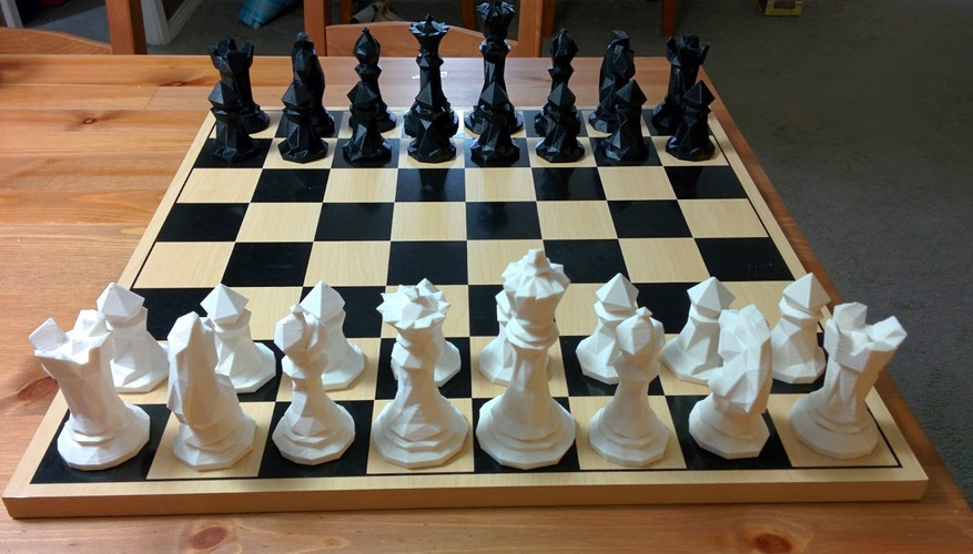 Faceted Chess Set  3D Print 18080