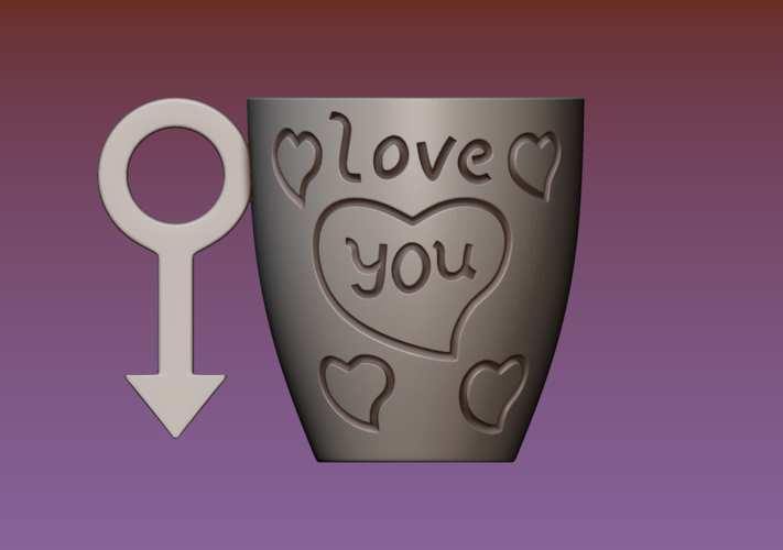 Cup with gender symbol 3D Print 180900
