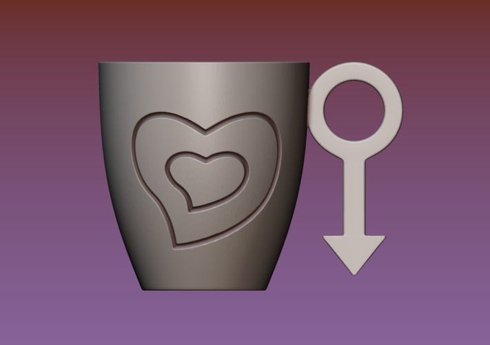 Cup with gender symbol 3D Print 180902