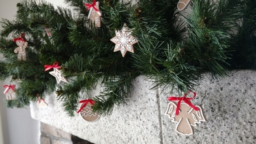 3d Printed Christmas Ornaments.Christmas Cookie Ornaments
