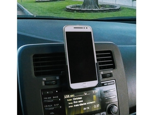 Medium Moto G4/G4+ phone holder with car CD player adapter 3D Printing 181275