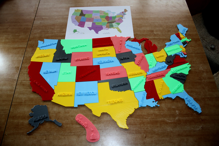 3d printed usa states 3d puzzle study plan by format3d - 3d printed house usa ...