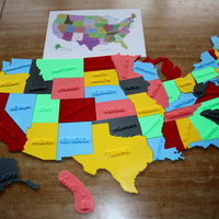 Small USA States, 3D puzzle, Study Plan 3D Printing 181392