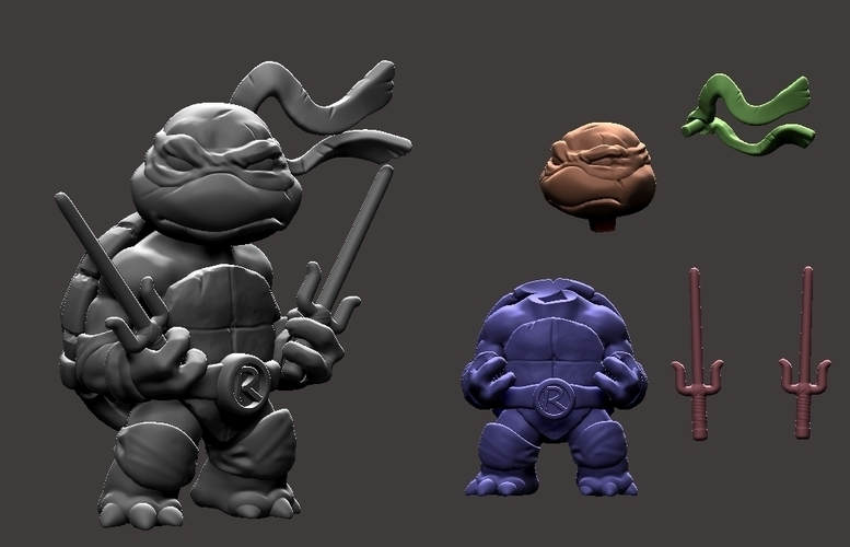 Chibi Mutant Ninja Turtles.... Raffa!! 3D Print 181695
