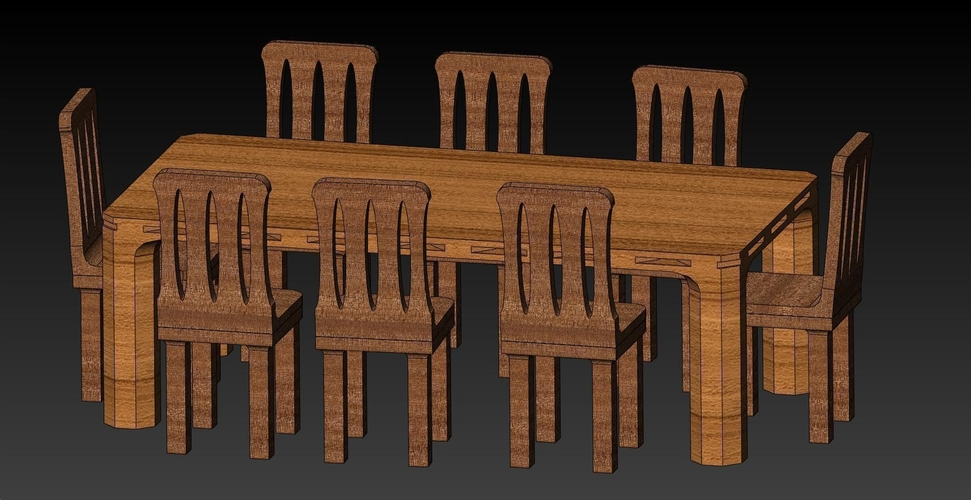Doll House Furniture - Table1 & Chairs1 Kit 3D Print 182339