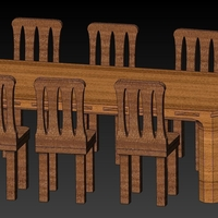 Small Doll House Furniture - Table1 & Chairs1 Kit 3D Printing 182339