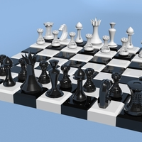 Small LOW POLY 3D CHESS 3D Printing 182484