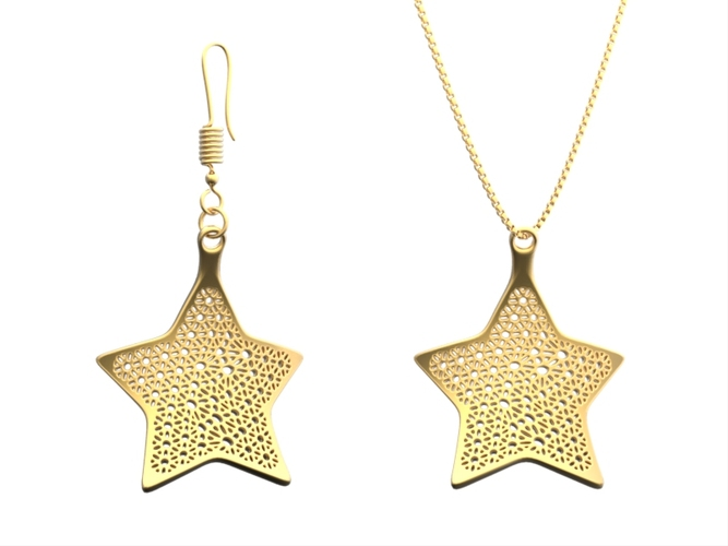 Earring and Necklace star Type 1 3D Print 18269