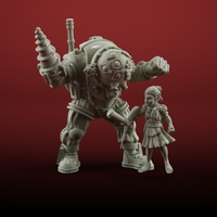 Small little sister with bigdaddy 3D print model 3D Printing 183759