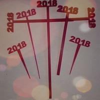 Small  2018 New Years Party Picks and Swizzle Sticks 3D Printing 183954