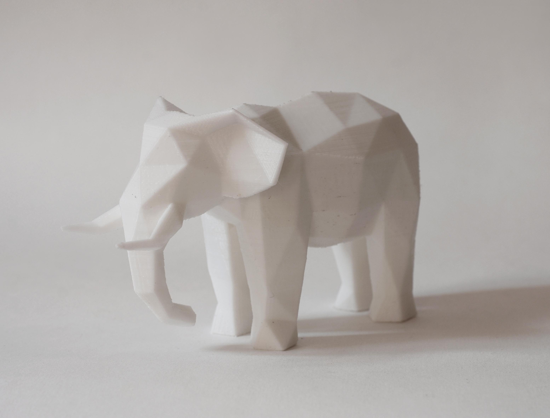 3D Printed Low Poly Elephant Art Sculpture by FORMBYTE | Pinshape