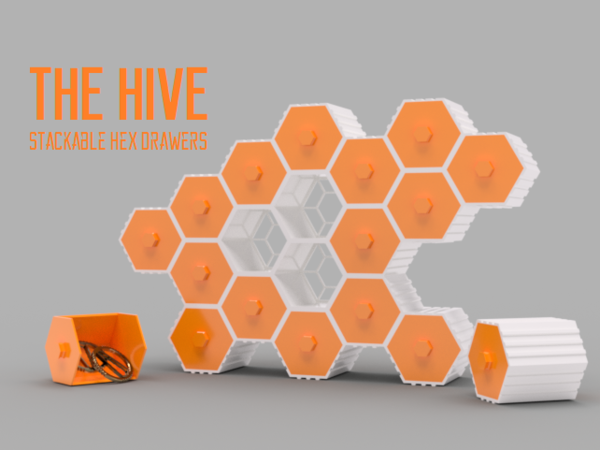 Medium The HIVE - Stackable Hex Drawers 3D Printing 185487