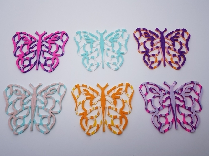 Butterfly Coasters - Multi Colour with one Nozzle! 3D Print 185957