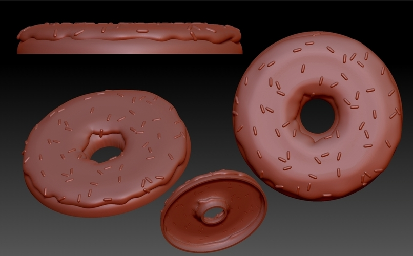 Donut With Sprinkles Flat 3D Print 186031