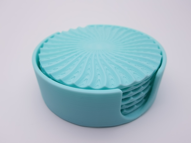 Radial Wave  Drinks coasters with holder 3D Print 186655
