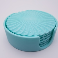 Small Radial Wave  Drinks coasters with holder 3D Printing 186655