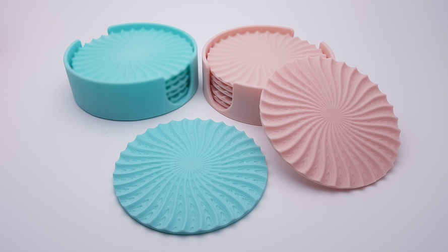 Radial Wave  Drinks coasters with holder 3D Print 186656