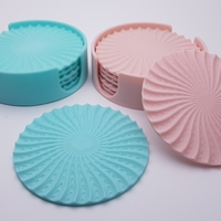 Small Radial Wave  Drinks coasters with holder 3D Printing 186656